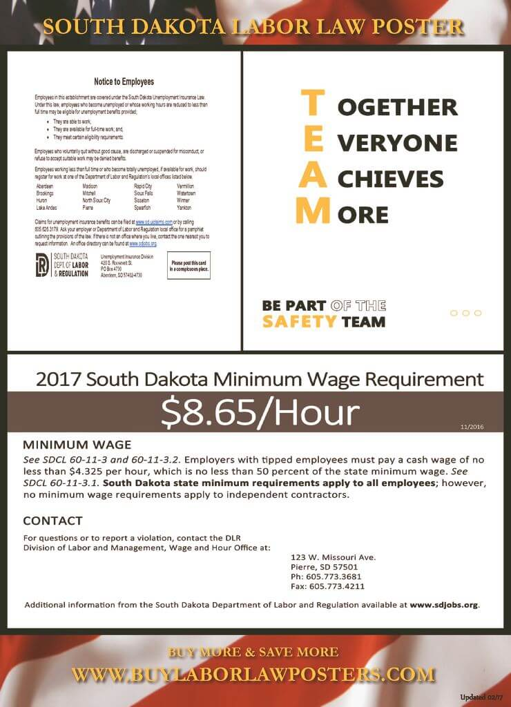 2018 south dakota labor law poster 1687 free shipping publicscrutiny Gallery